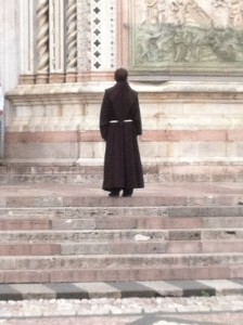 Lone Priest Looking up at the Duomo, Orvieto,  May 2015
